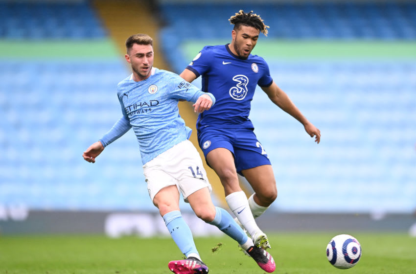 Aymeric Laporte of Manchester City and Reece James of Chelsea (Photo by Laurence Griffiths/Getty Images)