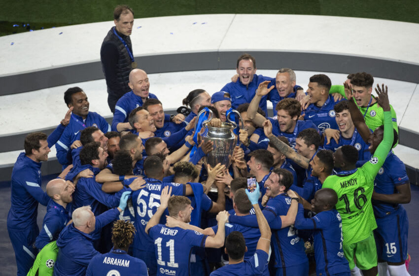 Chelsea players celebrate UEFA Champions League (Photo by Visionhaus/Getty Images)