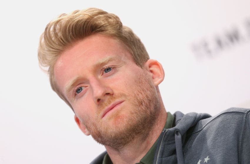 EVIAN-LES-BAINS, FRANCE - JUNE 10: Andre Schuerrle of Germany looks on during a Germany press conference ahead of the UEFA EURO 2016 on June 10, 2016 in Evian-les-Bains, France. Germany's opening match at the European Championship is against Ukraine on June 12. (Photo by Alexander Hassenstein/Getty Images)