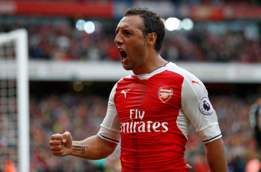 LONDON, ENGLAND - SEPTEMBER 10: Santi Cazorla of Arsenal celebrates scoring his sides second goal during the Premier League match between Arsenal and Southampton at Emirates Stadium on September 10, 2016 in London, England. (Photo by Clive Rose/Getty Images)