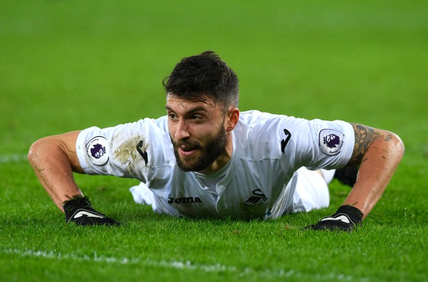 SWANSEA, WALES - JANUARY 14: Borja Gonzalez of Swansea City reacts during the Premier League match between Swansea City and Arsenal at Liberty Stadium on January 14, 2017 in Swansea, Wales. (Photo by Stu Forster/Getty Images)