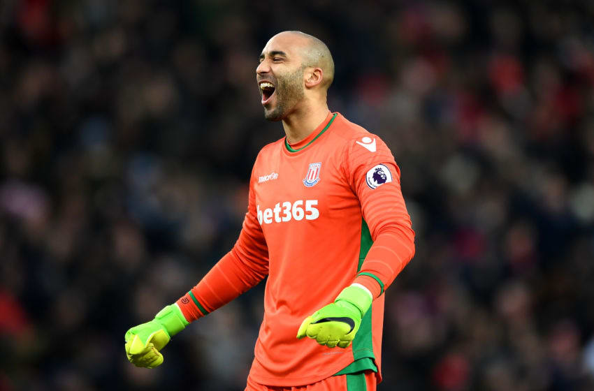 STOKE ON TRENT, ENGLAND - JANUARY 21: Lee Grant of Stoke City celebrates his sides goal during the Premier League match between Stoke City and Manchester United at Bet365 Stadium on January 21, 2017 in Stoke on Trent, England. (Photo by Gareth Copley/Getty Images)