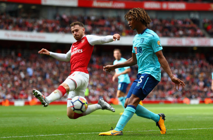 LONDON, ENGLAND - SEPTEMBER 09: Nathan Ake of AFC Bournemouth attempts to cross as Aaron Ramsey of Arsenal attempts to block during the Premier League match between Arsenal and AFC Bournemouth at Emirates Stadium on September 9, 2017 in London, England. (Photo by Clive Rose/Getty Images)