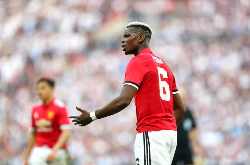 LONDON, ENGLAND - APRIL 21: Paul Pogba of Manchester United during The Emirates FA Cup Semi Final between Manchester United and Tottenham Hotspur at Wembley Stadium on April 21, 2018 in London, England. (Photo by Catherine Ivill/Getty Images)