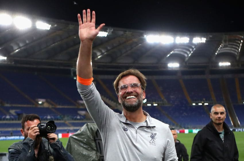 ROME, ITALY - MAY 02: Jurgan Klopp manager of Liverpool celebrates after the full time whistle during the UEFA Champions League Semi Final Second Leg match between A.S. Roma and Liverpool at Stadio Olimpico on May 2, 2018 in Rome, Italy. (Photo by Julian Finney/Getty Images)