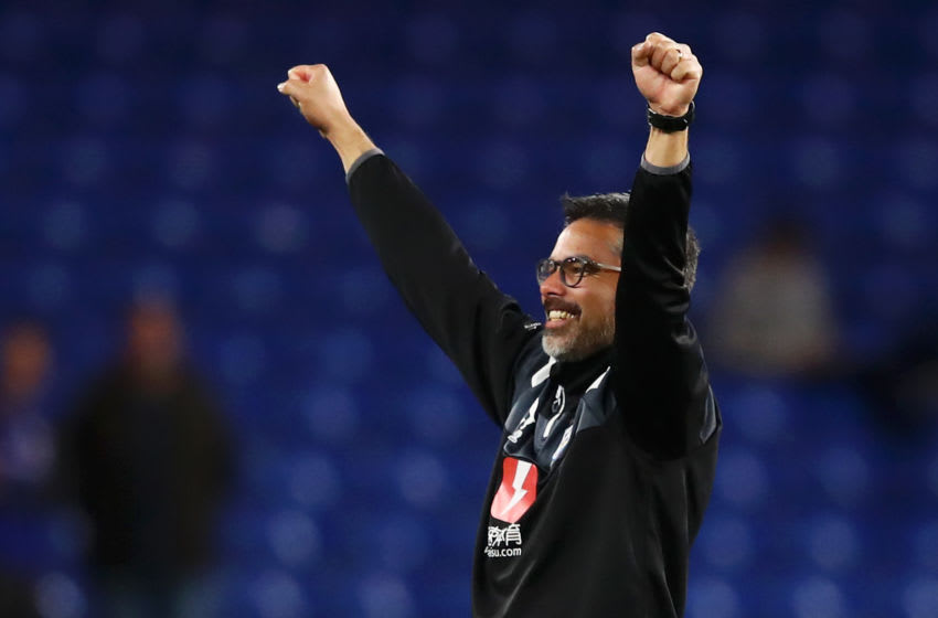 LONDON, ENGLAND - MAY 09: David Wagner, Manager of Huddersfield Town shows appreciation to the fans after the Premier League match between Chelsea and Huddersfield Town at Stamford Bridge on May 9, 2018 in London, England. (Photo by Clive Mason/Getty Images)