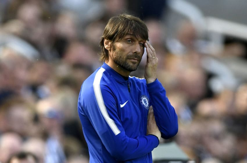 NEWCASTLE UPON TYNE, ENGLAND - MAY 13: Antonio Conte, Manager of Chelsea reacts during the Premier League match between Newcastle United and Chelsea at St. James Park on May 13, 2018 in Newcastle upon Tyne, England. (Photo by Stu Forster/Getty Images)