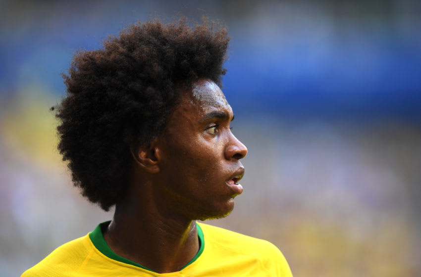 SAMARA, RUSSIA - JULY 02: Willian of Brazil looks on during the 2018 FIFA World Cup Russia Round of 16 match between Brazil and Mexico at Samara Arena on July 2, 2018 in Samara, Russia. (Photo by Matthias Hangst/Getty Images)