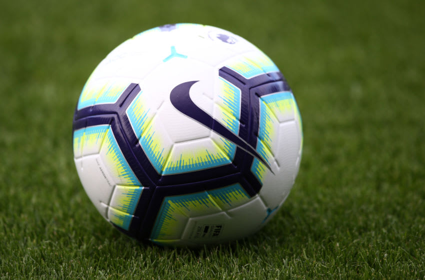 BIRKENHEAD, ENGLAND - JULY 10: A detailed view of the 2018/2019 Premier League match ball during the Pre-Season Friendly match between Tranmere Rovers and Liverpool at Prenton Park on July 11, 2018 in Birkenhead, England. (Photo by Jan Kruger/Getty Images)