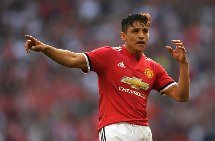 LONDON, ENGLAND - APRIL 21: Alexis Sanchez of Manchester United reacts during The Emirates FA Cup Semi Final match between Manchester United and Tottenham Hotspur at Wembley Stadium on April 21, 2018 in London, England. (Photo by Shaun Botterill/Getty Images)