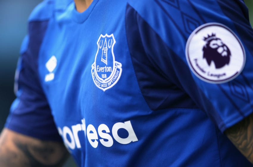 LIVERPOOL, ENGLAND - AUGUST 12: Everton's crest (Photo by Alex Livesey/Getty Images)