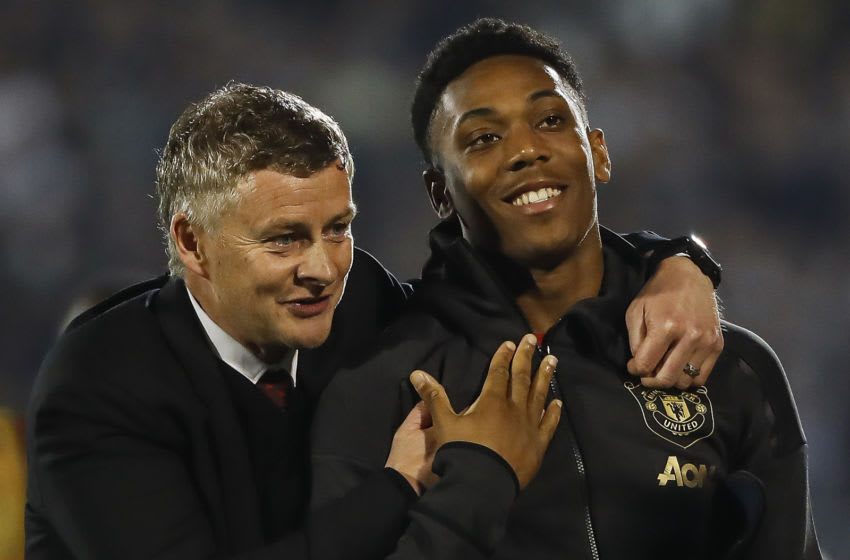 BELGRADE, SERBIA - OCTOBER 24: Manager Ole Gunnar Solskjaer of Manchester United celebrates with Anthony Martial after the UEFA Europa League group L match between Partizan and Manchester United at Partizan Stadium on October 24, 2019 in Belgrade, Serbia. (Photo by Srdjan Stevanovic/Getty Images)