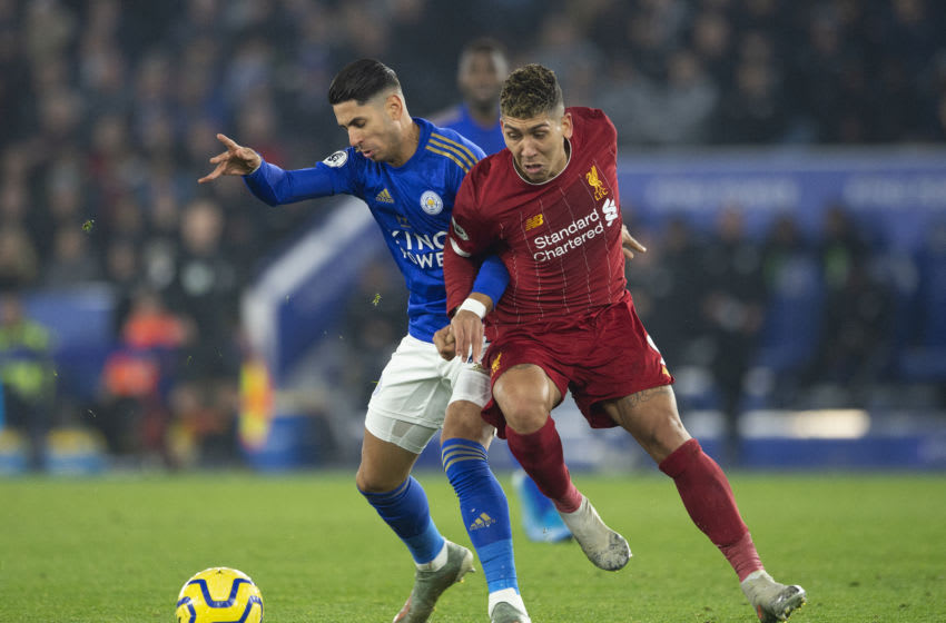 LEICESTER, ENGLAND - DECEMBER 26: Ayoze Pérez of Leicester City and Roberto Firmino of Liverpool during the Premier League match between Leicester City and Liverpool FC at The King Power Stadium on December 26, 2019 in Leicester, United Kingdom. (Photo by Visionhaus)