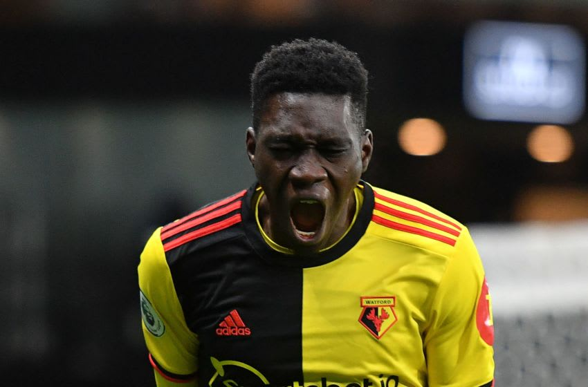 Ismaila Sarr, FC Watford. (Photo by JUSTIN TALLIS/AFP via Getty Images)