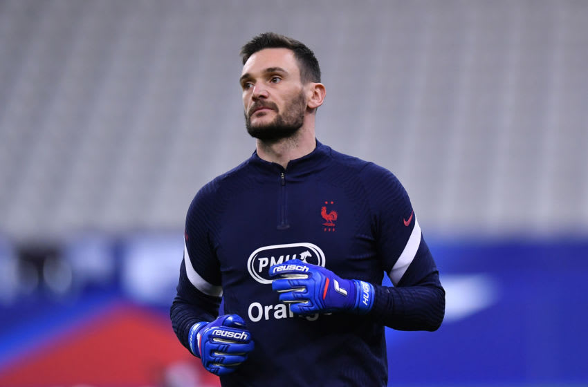 PARIS, FRANCE - MARCH 24: Hugo Lloris of France warms up prior to the FIFA World Cup 2022 Qatar qualifying match between France and Ukraine on March 24, 2021 in Paris, France. Sporting stadiums around France remain under strict restrictions due to the Coronavirus Pandemic as Government social distancing laws prohibit fans inside venues resulting in games being played behind closed doors. (Photo by Aurelien Meunier/Getty Images)