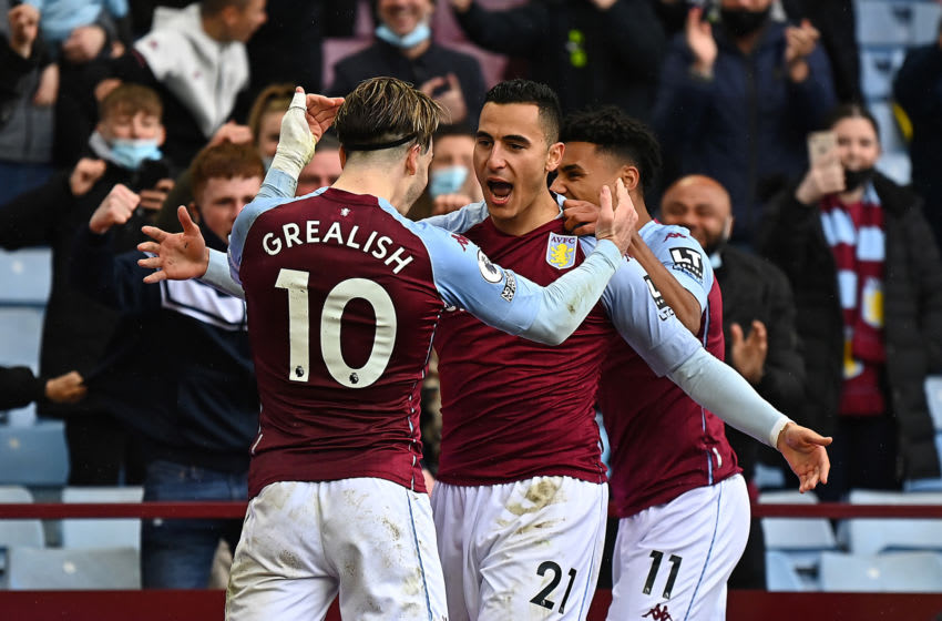 BIRMINGHAM, ENGLAND - MAY 23: Anwar El Ghazi of Aston Villa celebrates after scoring their side's second goal during the Premier League match between Aston Villa and Chelsea at Villa Park on May 23, 2021 in Birmingham, England. A limited number of fans will be allowed into Premier League stadiums as Coronavirus restrictions begin to ease in the UK following the COVID-19 pandemic. (Photo by Clive Mason/Getty Images)