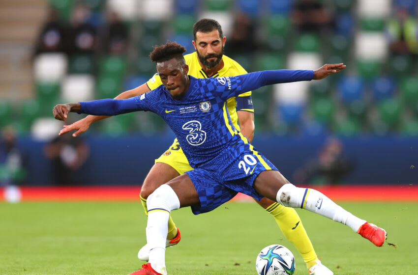 Callum Hudson-Odoi of Chelsea and Raul Albiol of Villarreal (Photo by Catherine Ivill/Getty Images)