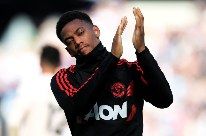 LONDON, ENGLAND - SEPTEMBER 29: Anthony Martial of Manchester United applauds the fans at the final whistle following the Premier League match between West Ham United and Manchester United at London Stadium on September 29, 2018 in London, United Kingdom. (Photo by Marc Atkins/Getty Images)