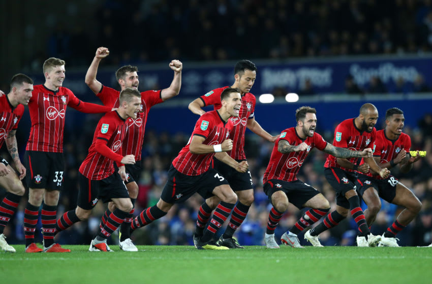 LIVERPOOL, ENGLAND - OCTOBER 02: Southampton players celebrate as they win the penalty shoot out during the Carabao Cup Third Round match between Everton and Southampton at Goodison Park on October 2, 2018 in Liverpool, England. (Photo by Jan Kruger/Getty Images)