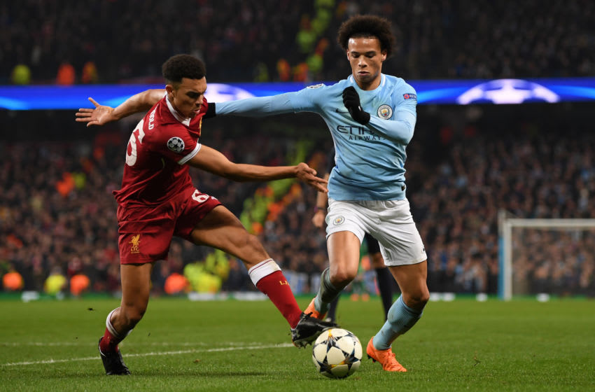 MANCHESTER, ENGLAND - APRIL 10: Trent Alexander-Arnold of Liverpool battles for posession with Leroy Sane of Manchester City during the UEFA Champions League Quarter Final Second Leg match between Manchester City and Liverpool at Etihad Stadium on April 10, 2018 in Manchester, England. (Photo by Shaun Botterill/Getty Images,)