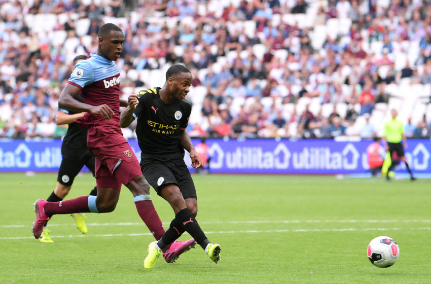 LONDON, ENGLAND - AUGUST 10: Raheem Sterling of Manchester City scores his team's fifth goal during the Premier League match between West Ham United and Manchester City at London Stadium on August 10, 2019 in London, United Kingdom. (Photo by Laurence Griffiths/Getty Images)