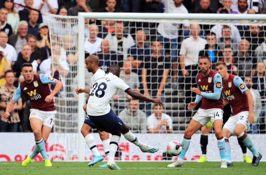 LONDON, ENGLAND - AUGUST 10: Tanguy Ndombele of Tottenham Hotspur scores his team's first goal during the Premier League match between Tottenham Hotspur and Aston Villa at Tottenham Hotspur Stadium on August 10, 2019 in London, United Kingdom. (Photo by Marc Atkins/Getty Images)