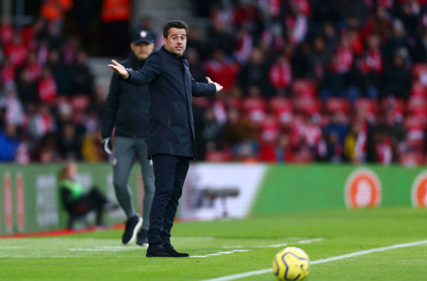 SOUTHAMPTON, ENGLAND - NOVEMBER 09: Marco Silva, Manager of Everton reacts during the Premier League match between Southampton FC and Everton FC at St Mary's Stadium on November 09, 2019 in Southampton, United Kingdom. (Photo by Jordan Mansfield/Getty Images)