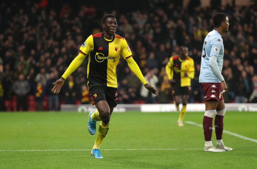 WATFORD, ENGLAND - DECEMBER 28: Ismaila Sarr of Watford celebrates after scoring his sides third goal during the Premier League match between Watford FC and Aston Villa at Vicarage Road on December 28, 2019 in Watford, United Kingdom. (Photo by Catherine Ivill/Getty Images)