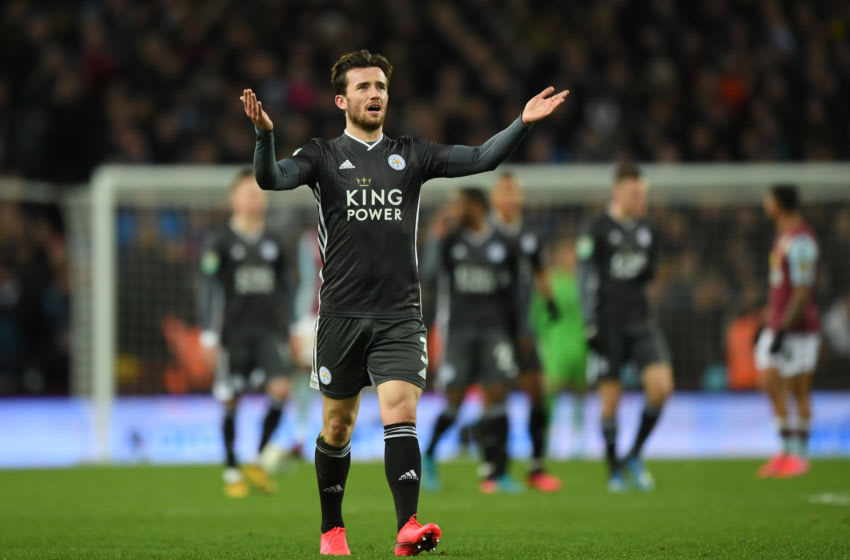 BIRMINGHAM, ENGLAND - JANUARY 28: Ben Chilwell of Leicester City encourages the crowd during the Carabao Cup Semi Final match between Aston Villa and Leicester City at Villa Park on January 28, 2020 in Birmingham, England. (Photo by Shaun Botterill/Getty Images)