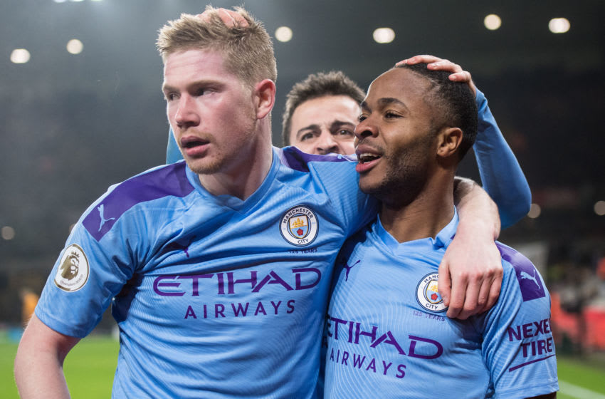WOLVERHAMPTON, ENGLAND - DECEMBER 27: Raheem Sterling of Manchester City celebrate with hes team mate Kevin De Bruyne and Bernardo Silva after scoring 2nd goal during the Premier League match between Wolverhampton Wanderers and Manchester City at Molineux on December 27, 2019 in Wolverhampton, United Kingdom. (Photo by Sebastian Frej/MB Media/Getty Images)