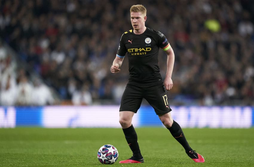 MADRID, SPAIN - FEBRUARY 26: Kevin De Bruyne of Manchester City in action during the UEFA Champions League round of 16 first leg match between Real Madrid and Manchester City at Bernabeu on February 26, 2020 in Madrid, Spain. (Photo by Mateo Villalba/Quality Sport Images/Getty Images)