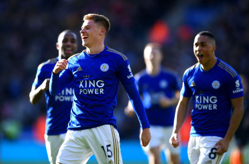 LEICESTER, ENGLAND - FEBRUARY 01: Harvey Barnes of Leicester City celebrates after scoring his team's first goal during the Premier League match between Leicester City and Chelsea FC at The King Power Stadium on February 01, 2020 in Leicester, United Kingdom. (Photo by Laurence Griffiths/Getty Images)