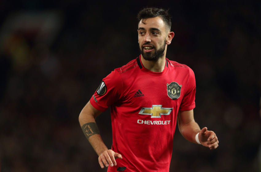 MANCHESTER, ENGLAND - FEBRUARY 27: Bruno Fernandes of Manchester United during the UEFA Europa League round of 32 second leg match between Manchester United and Club Brugge at Old Trafford on February 27, 2020 in Manchester, United Kingdom. (Photo by James Williamson - AMA/Getty Images)
