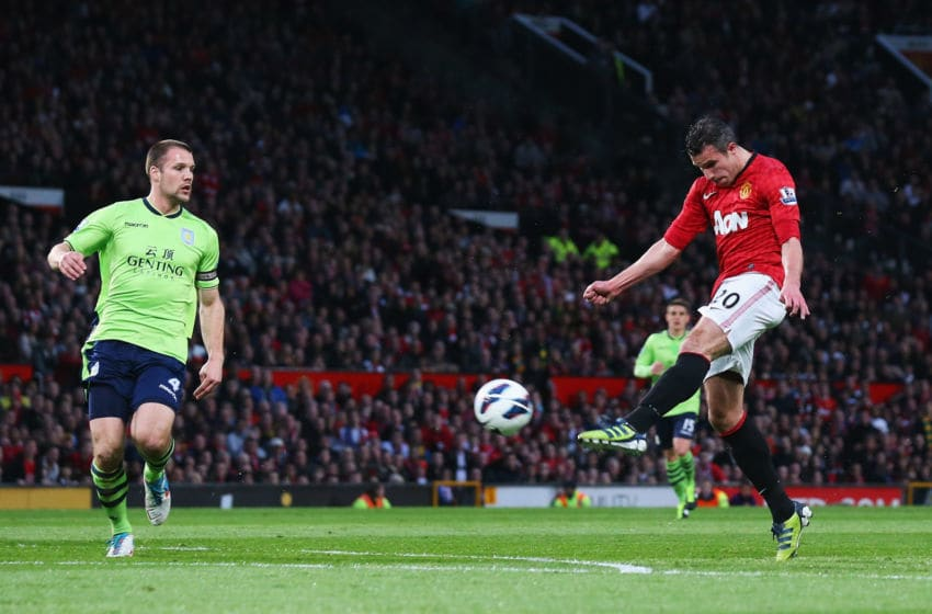 MANCHESTER, ENGLAND - APRIL 22: Robin van Persie of Manchester United scores his team's second goal during the Barclays Premier League match between Manchester United and Aston Villa at Old Trafford on April 22, 2013 in Manchester, England. (Photo by Alex Livesey/Getty Images)