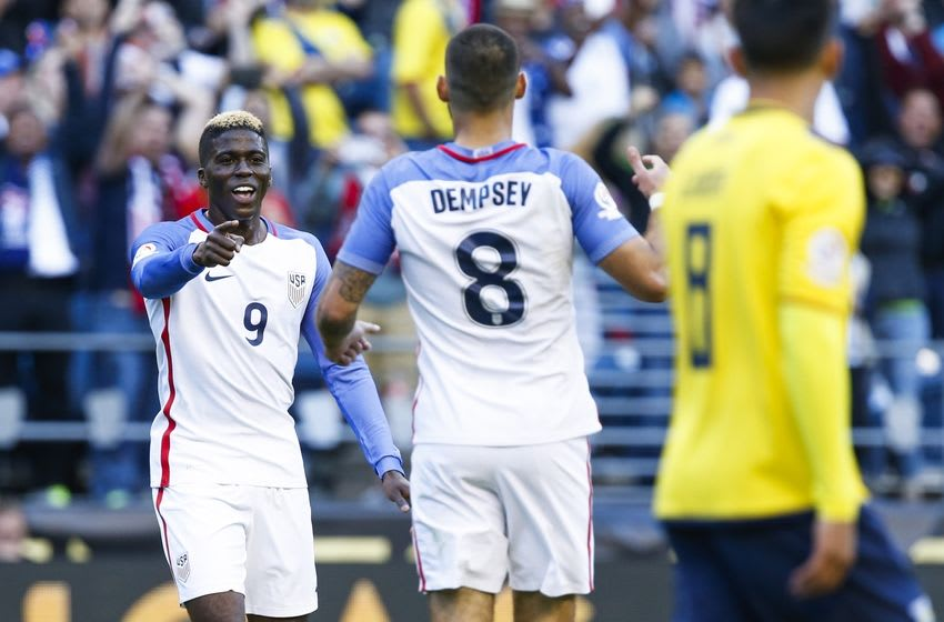 Jun 16, 2016; Seattle, WA, USA; United States forward Gyasi Zardes (9) celebrates after scoring a goal against Ecuador during the second half of quarter-final play in the 2016 Copa America Centenario soccer tournament at Century Link Field. The United States defeated Ecuador, 2-1. Mandatory Credit: Joe Nicholson-USA TODAY Sports