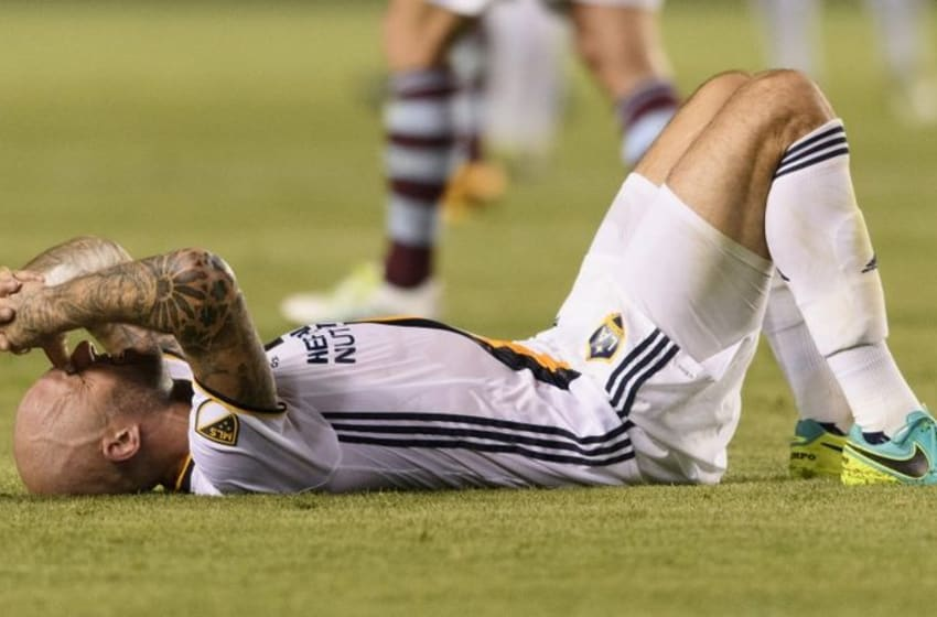 Jun 22, 2016; Carson, CA, USA; LA Galaxy defender Jelle Van Damme (37) lays on the ground after the game against the Colorado Rapids at StubHub Center. The game ended in a draw with a final score of 0-0. Mandatory Credit: Kelvin Kuo-USA TODAY Sports