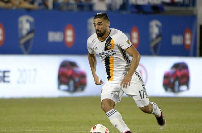 May 28, 2016; Montreal, Quebec, CAN; Los Angeles Galaxy midfielder Sebastian lletget (17) plays the ball during the second half against the Montreal Impact at Stade Saputo. Mandatory Credit: Eric Bolte-USA TODAY Sports