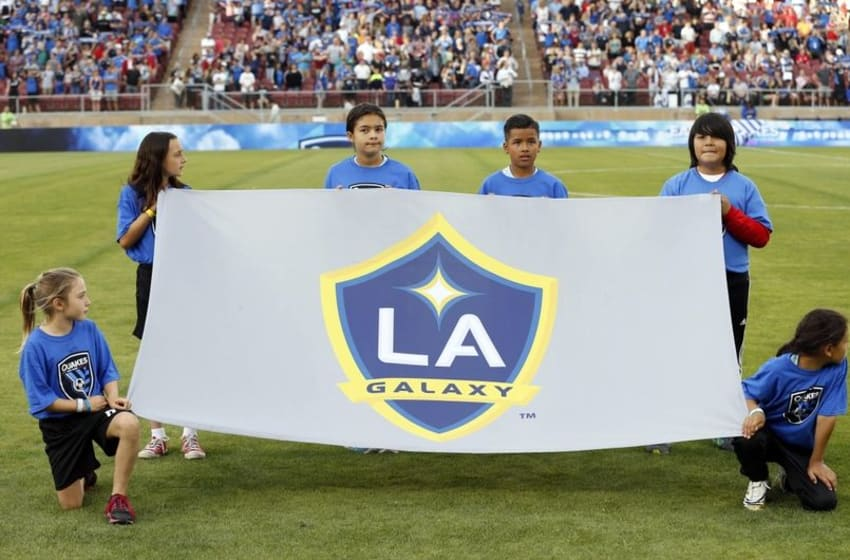 Jun 27, 2015; San Jose, CA, USA; Los Angeles Galaxy flag displayed before the game against the San Jose Earthquakes at Stanford Stadium. Mandatory Credit: Bob Stanton-USA TODAY Sports
