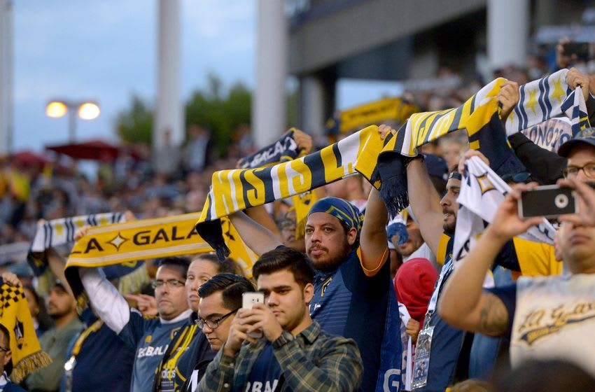 Apr 10, 2016; Carson, CA, USA; Los Angeles Galaxy fans in the first half of the game against the Portland Timbers at StubHub Center. Mandatory Credit: Jayne Kamin-Oncea-USA TODAY Sports