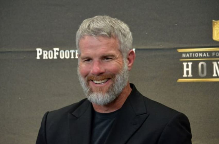 Feb 6, 2016; San Francisco, CA, USA; Brett Favre smiles during a press conference to announce the Pro Football Hall of Fame Class of 2016 at Bill Graham Civic Auditorium. Mandatory Credit: Kirby Lee-USA TODAY Sports