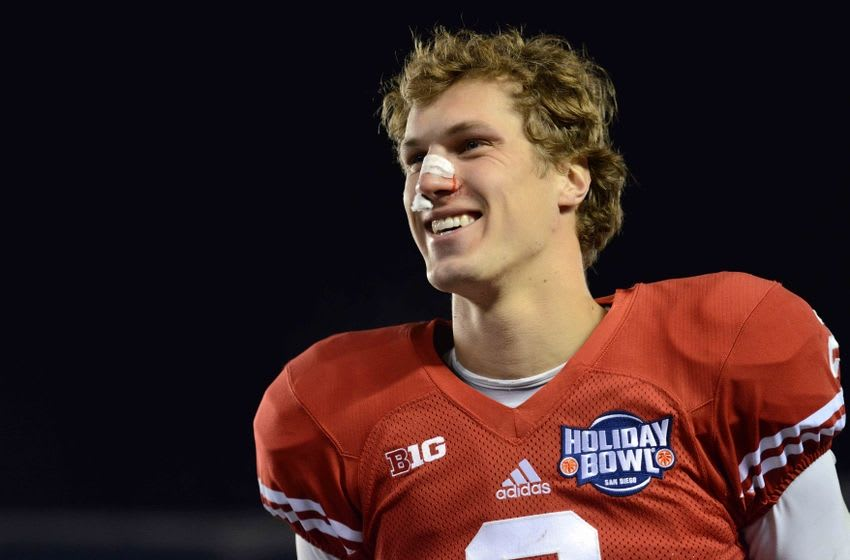 Dec 30, 2015; San Diego, CA, USA; Wisconsin Badgers quarterback Joel Stave (2) smiles after beating the USC Trojans 23-21 in the 2015 Holiday Bowl at Qualcomm Stadium. Mandatory Credit: Jake Roth-USA TODAY Sports