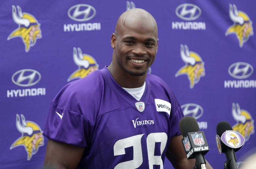 Jun 15, 2016; Minneapolis, MN, USA; Minnesota Vikings running back Adrian Peterson (28) answers questions after practice at mini camp. Mandatory Credit: Brad Rempel-USA TODAY Sports