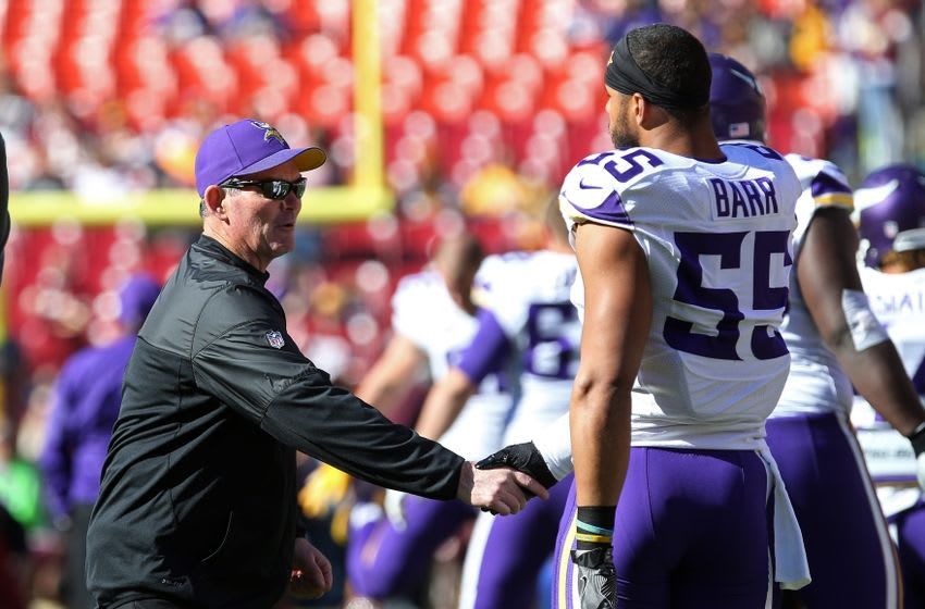 Nov 13, 2016; Landover, MD, USA; Minnesota Vikings head coach Mike Zimmer (L) shakes hands with Vikings linebacker Anthony Barr (55) prior to the game against the Washington Redskins at FedEx Field. Mandatory Credit: Geoff Burke-USA TODAY Sports