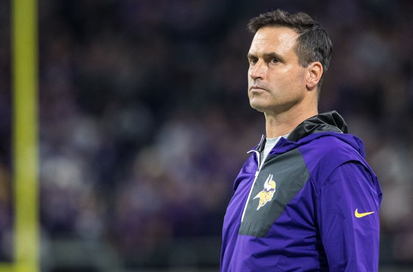 Dec 1, 2016; Minneapolis, MN, USA; Minnesota Vikings interim head coach Mike Priefer looks on during the fourth quarter against the Dallas Cowboys at U.S. Bank Stadium. The Cowboys defeated the Vikings 17-15. Mandatory Credit: Brace Hemmelgarn-USA TODAY Sports