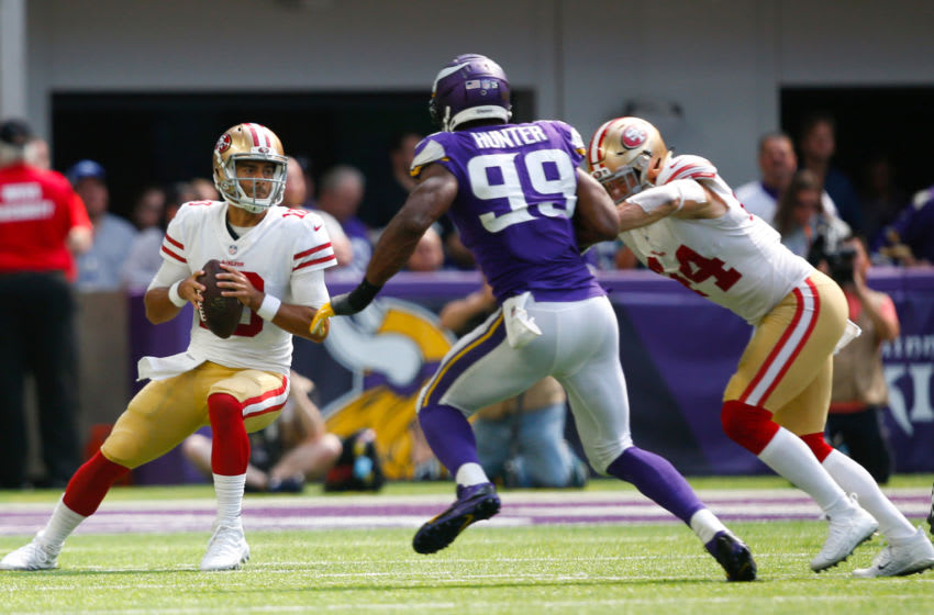 MINNEAPOLIS, MN - SEPTEMBER 9: Jimmy Garoppolo #10 of the San Francisco 49ers drops to pass during the game against the Minnesota Vikings at U.S. Bank Stadium on September 9, 2018 in Minneapolis, Minnesota. The Vikings defeated the 49ers 24-16. (Photo by Michael Zagaris/San Francisco 49ers/Getty Images)