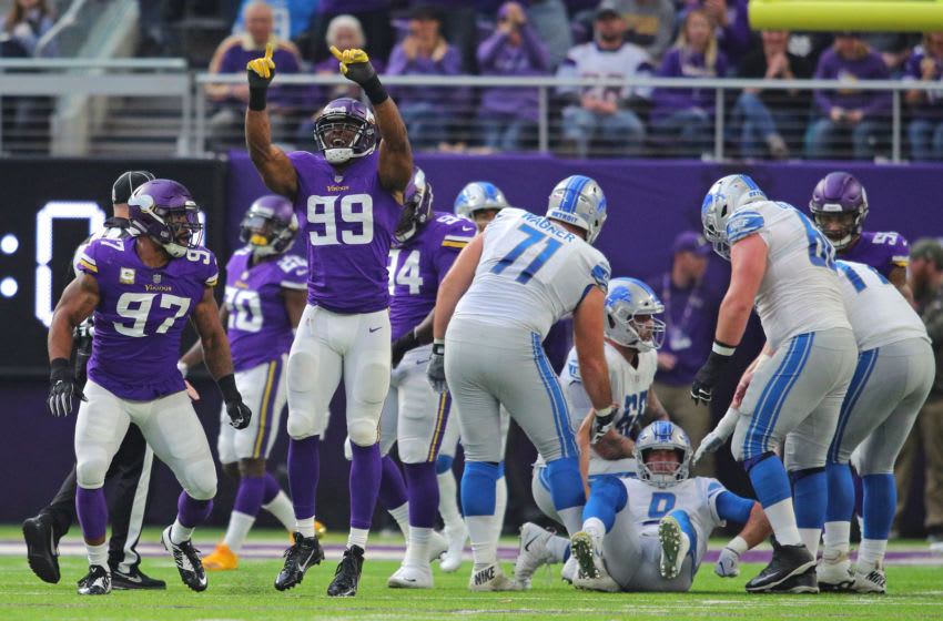 MINNEAPOLIS, MN - NOVEMBER 4: (L-R) Everson Griffen #97 and Danielle Hunter #99 of the Minnesota Vikings celebrate Hunters sack of Matthew Stafford #9 of the Detroit Lions in the first half at U.S. Bank Stadium on November 4, 2018 in Minneapolis, Minnesota. (Photo by Adam Bettcher/Getty Images)