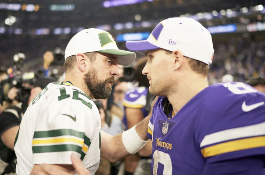 MINNEAPOLIS, MN - NOVEMBER 25: Kirk Cousins #8 of the Minnesota Vikings and Aaron Rodgers #12 of the Green Bay Packers speak after the game at U.S. Bank Stadium on November 25, 2018 in Minneapolis, Minnesota. (Photo by Hannah Foslien/Getty Images)