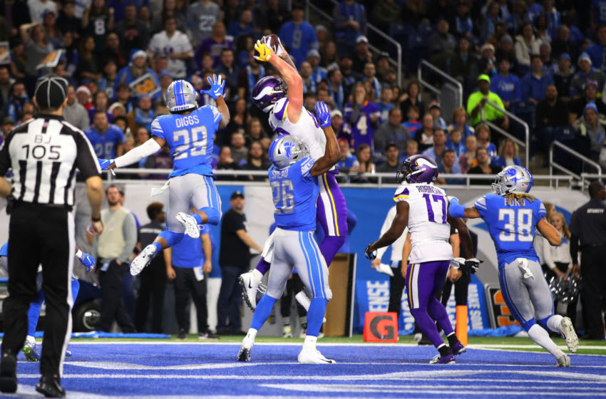 DETROIT, MI - DECEMBER 23: Kyle Rudolph #82 of the Minnesota Vikings makes a touch down catch in the second quarter against the Detroit Lions at Ford Field on December 23, 2018 in Detroit, Michigan. (Photo by Gregory Shamus/Getty Images)