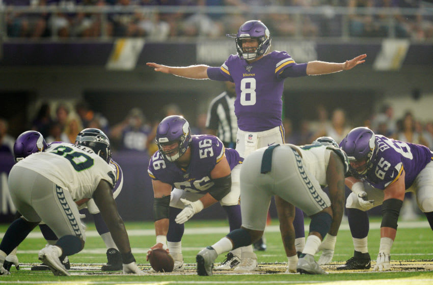 MINNEAPOLIS, MN - AUGUST 18: Minnesota Vikings quarterback Kirk Cousins (8) called a play on the line in the first half against the Seattle Seahawks during an NFL preseason football game at U.S. Bank Stadium in Minneapolis, Minn. (Photo by Anthony Souffle/Star Tribune via Getty Images)