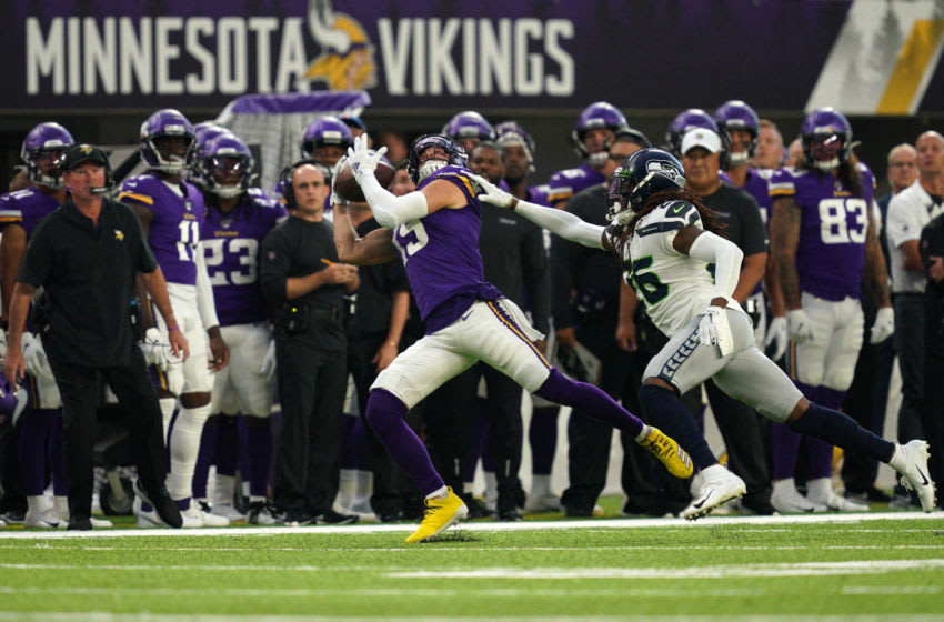MINNEAPOLIS, MN - AUGUST 18: Minnesota Vikings wide receiver Adam Thielen (19) completed a long pass from Minnesota Vikings quarterback Kirk Cousins (8) as Seattle Seahawks cornerback Shaquill Griffin tried to defend in the first half during an NFL preseason football game at U.S. Bank Stadium in Minneapolis, Minn. (Photo by Anthony Souffle/Star Tribune via Getty Images)